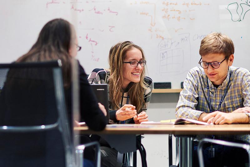 GSK students Ryan Smith and Marta Kovatcheva in class.