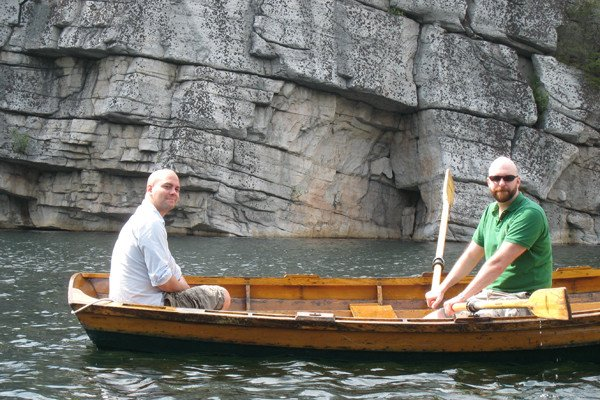 [from left] Fourth-year students Eric Alonzo and Jeff Smith take to the lake.