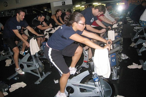 Student Cindy Puente cycled for the GSK Team during the second hour of a four-hour stint.