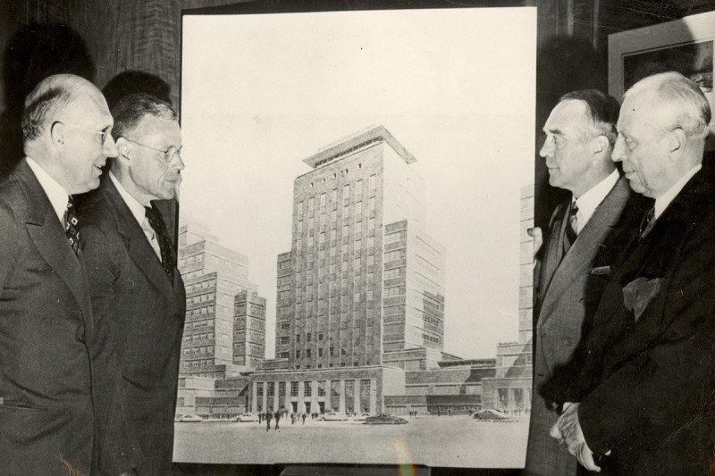 Sloan and Kettering with Rendering of building, 1945