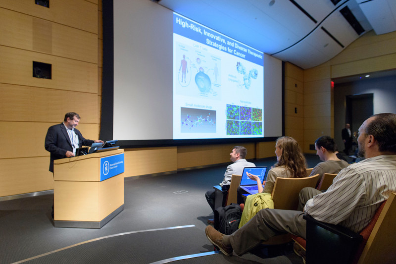 GSK faculty member, David Scheinberg, MD, PhD, gave a brief overview about experimental therapeutics at the institute. He talked about the types of therapies that are being discovered, the Center for Experimental Therapeutics, and the work being done at the Tri-I TDI.