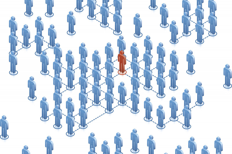 Drawing of one human figure set apart from a group of others.