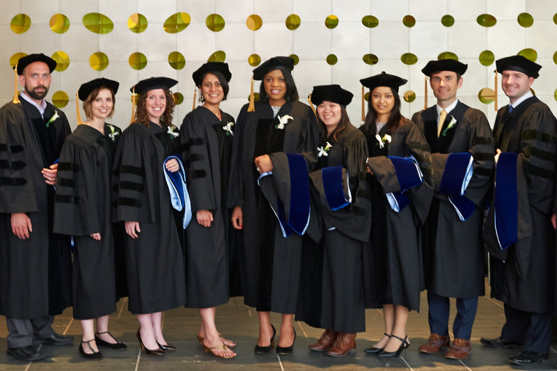GSK graduates (from left) James Mahaffey, Justine Miller, Moriah Nissan, Neha Bhagwat, Jennifer Nnoli, Ly Vu, Sadia Rahman, William Walkowicz, and John Halliday