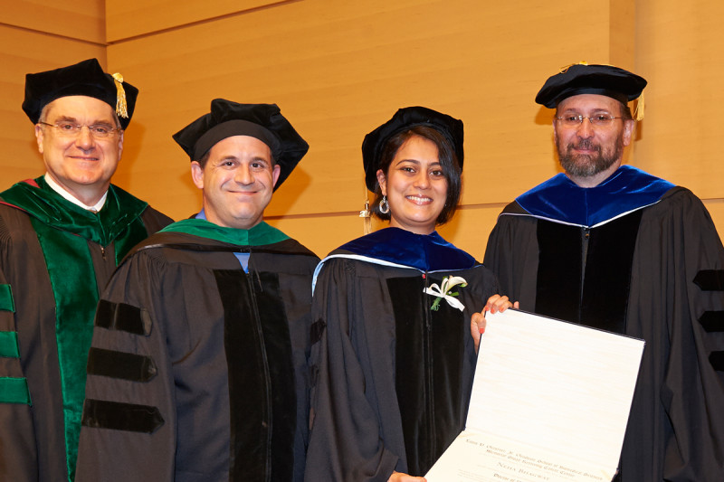 (From left) President and CEO Craig Thompson, physician-scientist Ross Levine, GSK graduate Neha Bhagwat, and GSK Dean Kenneth Marians