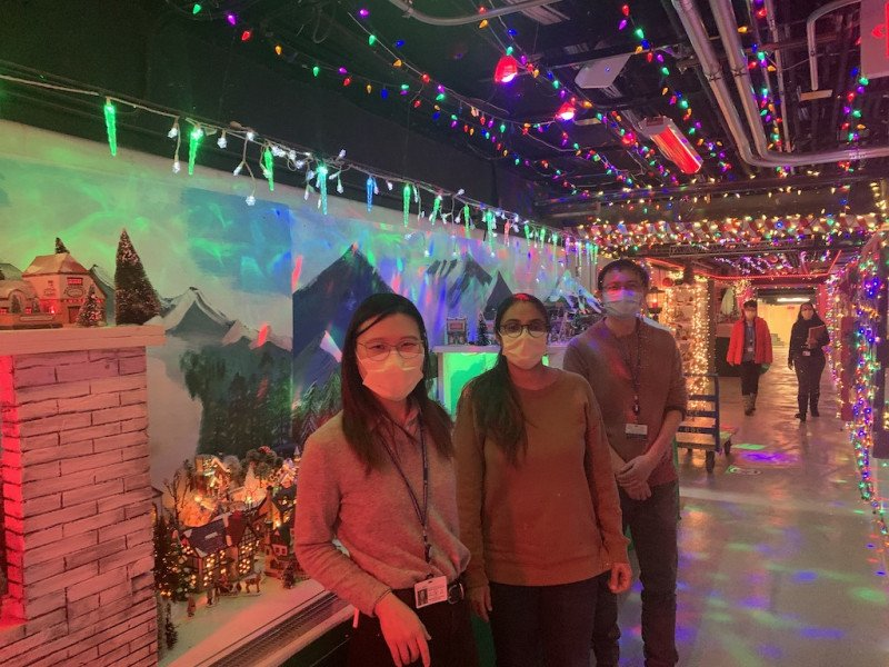 Checking out MSK's holiday lights display