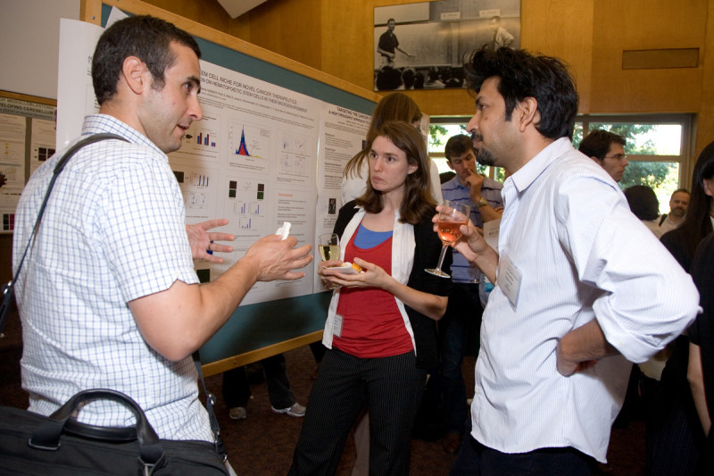 Young scientists talk at the poster session