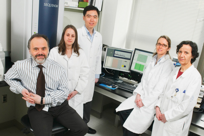 Staff involved in implementing the new technology for diagnosing gene mutations in tumors include (from left) Marc Ladanyi, Angela Marchetti, Chris Lau, Laetitia Borsu, and Khedoudja Nafa.