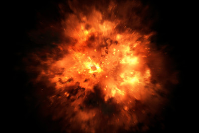 Image of fireball-type explosion on black background.