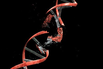 Graphic of shattered, red, DNA double-helix