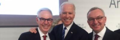 Dr. Charles Sawyers, Vice President Joe Biden, and Dr. José Baselga.