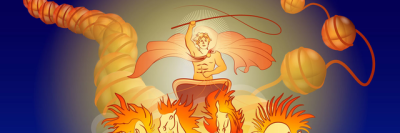 An illustration shows Helios, the ancient Greek sun god, unwinding DNA
