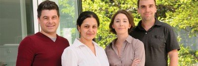 (From left) The first four authors of the June 24 Cancer Cell study, Barry Taylor, Anuradha Gopalan, Haley Hieronymous, and Nikolaus Schultz.