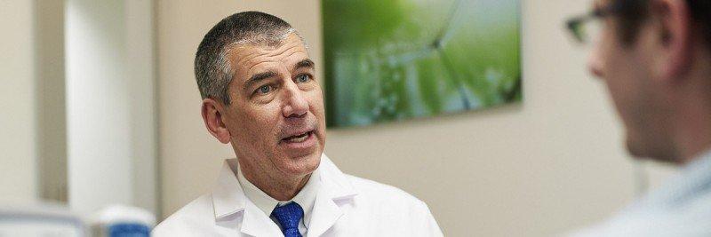 Chief of Urology James Eastham explaining treatment options