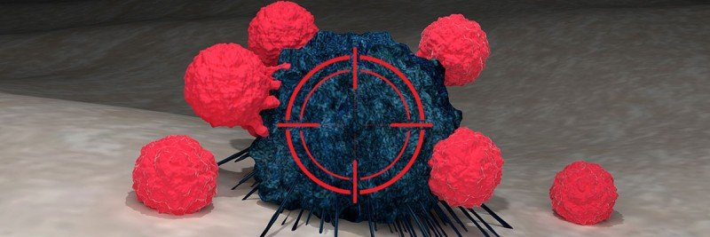 Blue cancer cell with a target on it