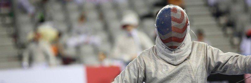 Gabe Armijo in full fencing gear